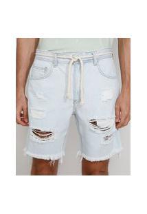 Bermuda Jeans Masculina Destroyed Reta Com Cordão Azul Claro