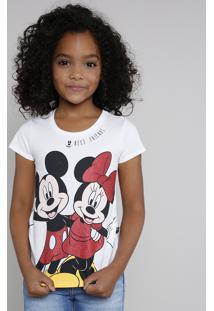 Blusa Infantil Minnie E Mickey Com Glitter Manga Curta Off White