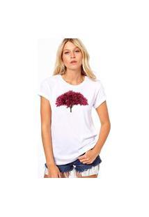 Camiseta Coolest Arvore Rosa Branco