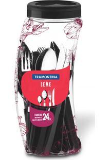 Faqueiro De Aço Inox Leme Preto Tramontina Com 24 Peças Ref-23198/031
