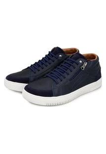 Sapatênis Br2 Footwear Casual Botinha Couro Zíper Conforto