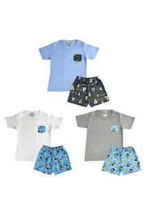 Kit 3 Pijama Infantil Curto Menino Algodão Confortável