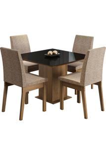 Sala De Jantar Madesa Gaia Mesa Tampo De Vidro Com 4 Cadeiras