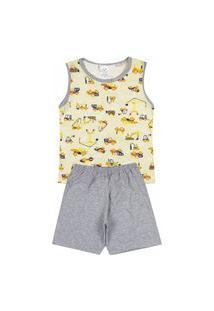 Pijama Regata Infantil Caminhões Amarelo Com Cinza 841 - Kappes