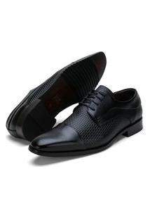 Sapato Social Fepo Store Couro Texturizado Palmilha Espumada Preto