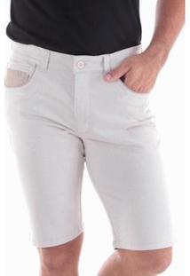 Bermuda Sarja Slim Amaciada 5 Bolsos Traymon Masculina - Masculino-Bege