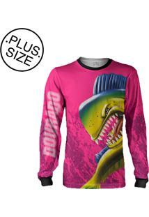 Camisa Pesca Quisty Majestoso Dourado Do Mar Proteção Uv Dryfit Plus Size Rosa