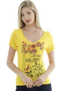 Camiseta Gatabakana De Malha Amarela