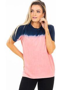 Camiseta Energia Natural Tie Dye Feminina - Unissex-Azul+Rosa