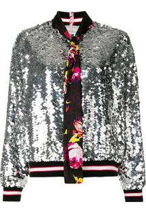 Msgm Sequin Bomber Jacket - Metálico