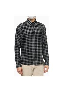 Camisa Ck Ml Slim Viscose Xadrez Pequeno - Preto