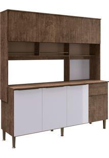 Cozinha Compacta Com Tampo 8 Portas 1 Gaveta Maite- Genialflex - Demolição / Branco