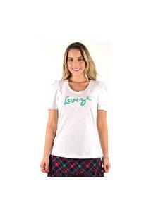 T-Shirt Mamorena Com Bordado Leveza Branco