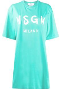 Msgm Vestido Oversized - Azul