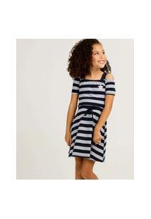 Vestido Infantil Open Shoulder Listrado Tam 4 A 10