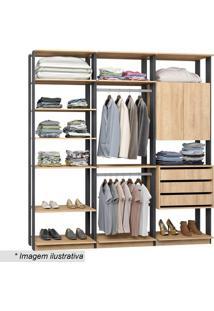 Guarda Roupa Clothes- Carvalho & Espresso- 220X210X4Bentec