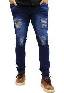 Calça Jeans Elite Lux Skinny Azul Rasgado