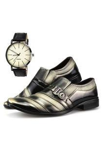 Sapato Social Neway Preto E Dourado + Relógio