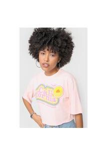 Camiseta Cropped Forever 21 Califórnia Rosa