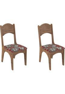 Kit 2 Cadeiras Ca18 Para Sala De Jantar Nobre/Floral Vermelho - Dalla Costa