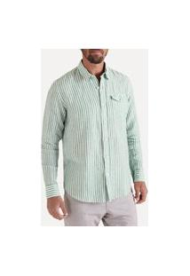 Camisa Ml Listrado Regular Co Linho Casual Reserva Verde