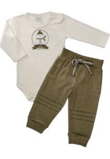 Body Longo E Calça Para Bebê Em Moletinho Urso Polar - Anjos Baby