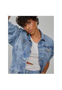 Amaro Feminino Jaqueta Jeans Elástico Barra, Azul Claro