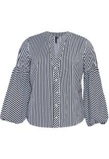 Camisa Listrada Almaria Plus Size Miss Taylor Reco