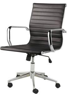 Cadeira Sevilha Eames Baixa Cromada Pu Preta - 4950 - Sun House