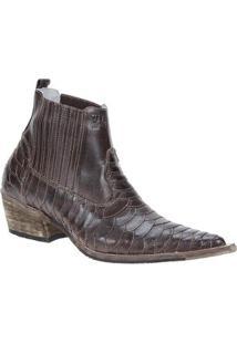 Bota Couro Texana Escamada Via Boots Masculina - Masculino-Café