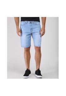 Bermuda Jeans Masculina Slim Com Rasgos Azul Claro