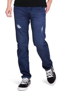 Calça Azul Jogging Em Jeans