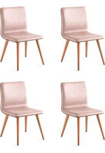 Conjunto Com 4 Cadeiras De Jantar Ana Marrom Claro E Castanho