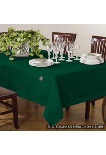 Toalha De Mesa 1,40Cm X 2,10Cm Tecelagem Damata Verde