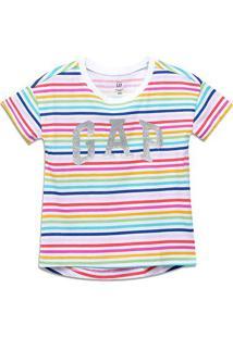 Camiseta Infantil Gap Listrada Feminina - Feminino-Colorido