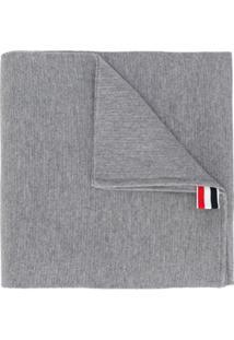 Thom Browne Cachecol Milano De Lã Merino Com Costura - Cinza