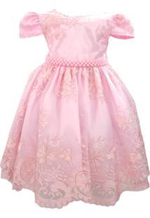 Vestido Enjoy Kids Rendado Luxo Rosa