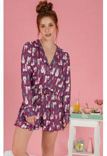 Pijama Com Botões Frontais Lhama