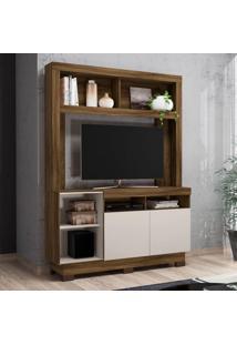 Estante Para Home Theater E Tv Até 46 Polegadas Âmbar Canela E Off White