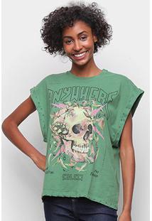 Camiseta Colcci Caveira Sleeveless Feminina - Feminino-Verde Escuro