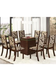 Conjunto Para Sala De Jantar Mesa E 8 Cadeiras Amora Espresso Móveis Choco/Trigo