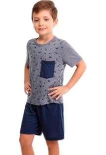 Pijama Infantil Menino De Verão Estampado Luna Cuore