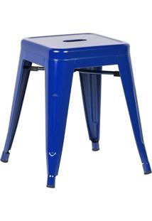 Banqueta Baixa Iron Tolix - Industrial - Aço - Vintage - Azul Escuro