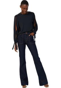 Calça Jeans Flare Bolso Amplo