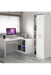 Escrivaninha E Estante Com 2 Portas Para Escritório-Ho-2962-Hecol - Branco