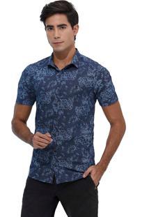 Camisa Slim Estampada Manga Curta 1760 Marinho