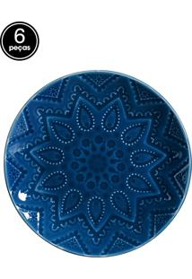 Conjunto 6 Pratos Sobremesa Em Bombain Azul Scalla