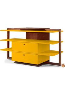 Rack Tv Com Prateleiras E 2 Gavetas De Madeira Laqueada Colorido Moderno Easy 871-0280 - 130X43X79Cm