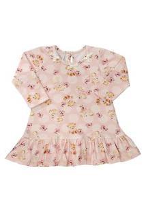 Vestido Para Bebê Manga Longa Em Cotton Ursinhas - Anjos Baby Rosa B