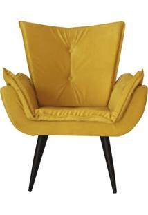 Poltrona Decorativa Emilia Plus Suede Amarelo Edecor
